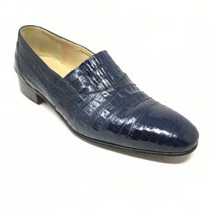 Mauri Loafers Shoes Size 8.5 Blue Full Alligator